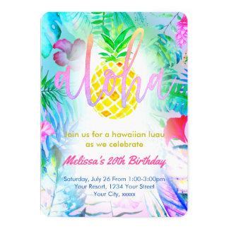 fête d'anniversaire tropicale colorée carton d'invitation  12,7 cm x 17,78 cm