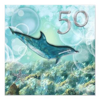 fête d'anniversaire tropicale de cinquantième faire-parts