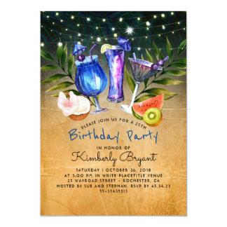 Fête d'anniversaire tropicale de cocktail de plage carton d'invitation  12,7 cm x 17,78 cm