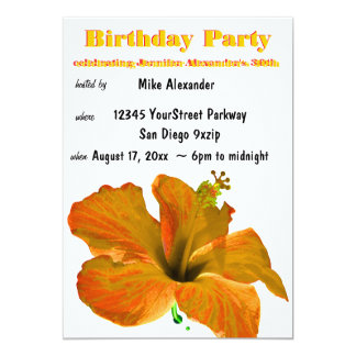 Fête d'anniversaire tropicale de ketmie invitations personnalisées
