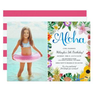 Fête d'anniversaire tropicale de photo de Luau | Carton D'invitation 12,7 Cm X 17,78 Cm