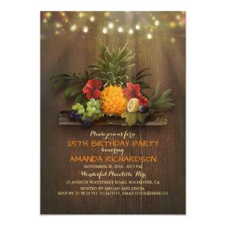Fête d'anniversaire tropicale de plage de lumières carton d'invitation  12,7 cm x 17,78 cm