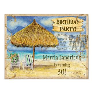Fête d'anniversaire tropicale de plage de paradis invitations