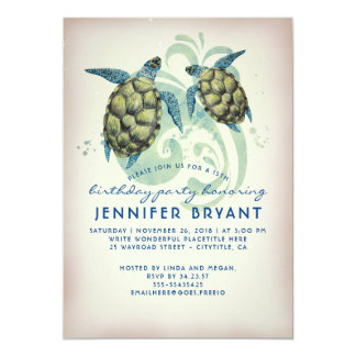 Fête d'anniversaire tropicale de plage de tortues carton d'invitation  12,7 cm x 17,78 cm