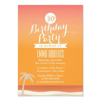 Fête d'anniversaire tropicale de thème de plage carton d'invitation  12,7 cm x 17,78 cm