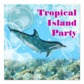 Fête d'anniversaire tropicale d'île de plage carton d'invitation  13,33 cm