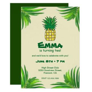 Fête d'anniversaire tropicale jaune verte d'ananas carton d'invitation  12,7 cm x 17,78 cm