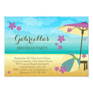 Fête d'anniversaire tropicale mauve moderne de carton d'invitation  12,7 cm x 17,78 cm