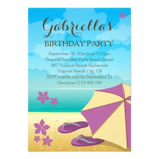 Fête d'anniversaire tropicale mauve moderne de invitations personnalisables