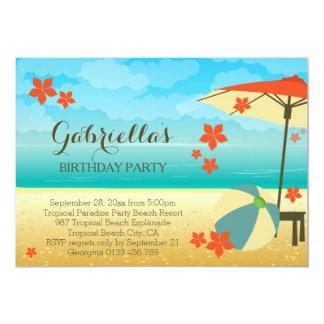 Fête d'anniversaire tropicale orange moderne de carton d'invitation  12,7 cm x 17,78 cm