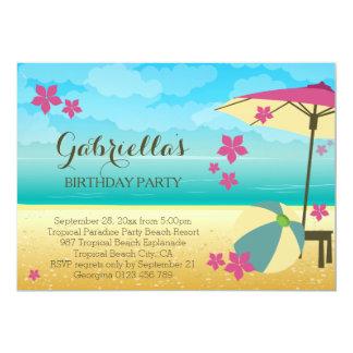 Fête d'anniversaire tropicale rose moderne de carton d'invitation  12,7 cm x 17,78 cm