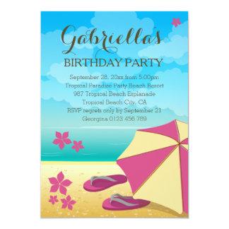 Fête d'anniversaire tropicale rose moderne de carton d'invitation