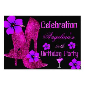 Fête d'anniversaire tropicale rose pourpre carton d'invitation 8,89 cm x 12,70 cm