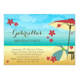 Fête d'anniversaire tropicale rouge moderne de carton d'invitation  12,7 cm x 17,78 cm