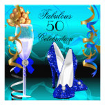 Fête d'anniversaire turquoise fabuleuse d'or du bl carton d'invitation