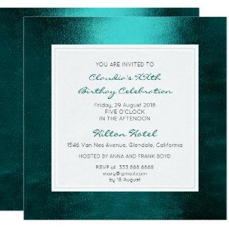 Fête d'anniversaire verte tropicale aquatique carton d'invitation  13,33 cm