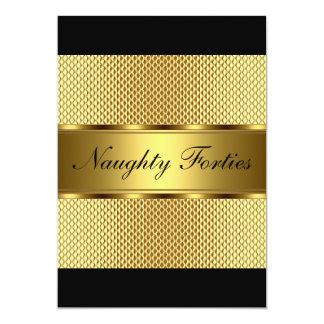 Fête d'anniversaire vilaine d'or d'années '40 2 carton d'invitation  12,7 cm x 17,78 cm
