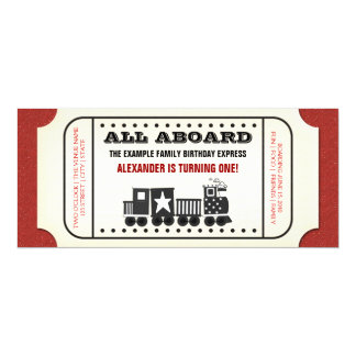 Fête d'anniversaire vintage de billet de train carton d'invitation  10,16 cm x 23,49 cm