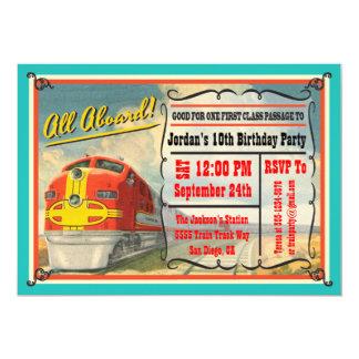 Fête d'anniversaire vintage de billet de train carton d'invitation  12,7 cm x 17,78 cm