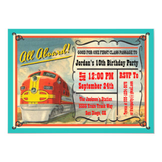 Fête d'anniversaire vintage de billet de train invitations