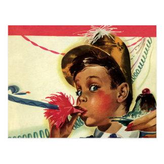 Fête d'anniversaire vintage, fille avec le carte postale