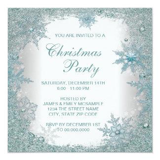 Fête de Noël bleue turquoise élégante de flocon de Carton D'invitation 13,33 Cm