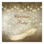 Fête de Noël chique de paon blanc élégant Invitation