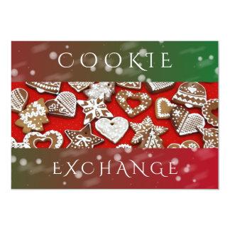Fête de Noël de l'échange   de biscuit de vacances Carton D'invitation 12,7 Cm X 17,78 Cm