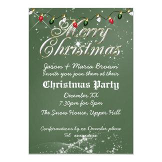 Fête de Noël multi de tableau vintage vert Carton D'invitation 12,7 Cm X 17,78 Cm
