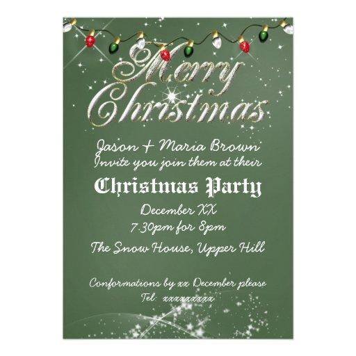 Fête de Noël multi de tableau vintage vert Invitations Personnalisables