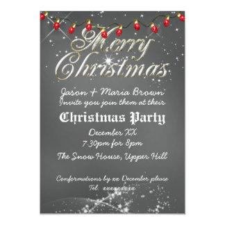 Fête de Noël poussiéreuse vintage de rouge de Invitation Personnalisable