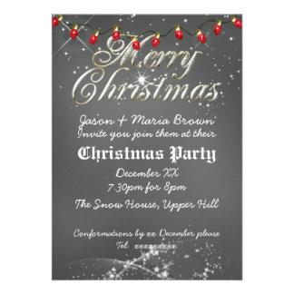 Fête de Noël poussiéreuse vintage de rouge de tabl Invitation Personnalisable