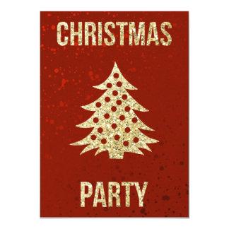 Fête de Noël   rouge et arbre de Noël d'or Carton D'invitation 11,43 Cm X 15,87 Cm