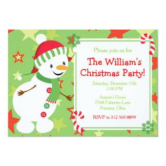 Fête de Noël rouge et verte mignonne de bonhomme Carton D'invitation 12,7 Cm X 17,78 Cm