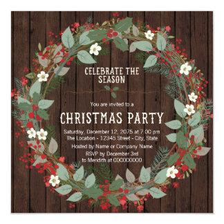Fête de Noël rustique de guirlande de houx Carton D'invitation 13,33 Cm