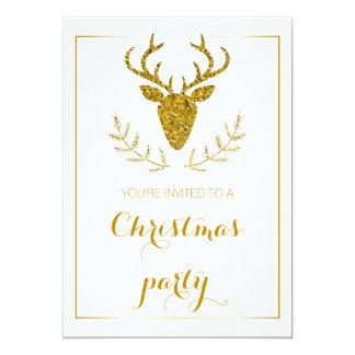Fête de Noël texturisée de tête de cerfs communs Carton D'invitation 12,7 Cm X 17,78 Cm