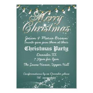 Fête de Noël verte vintage de blanc de tableau Carton D'invitation 12,7 Cm X 17,78 Cm