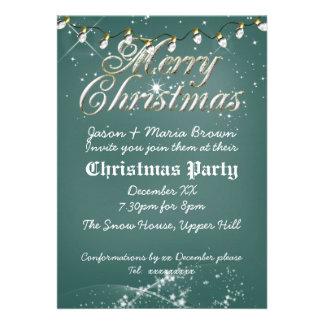 Fête de Noël verte vintage de blanc de tableau Invitation Personnalisable
