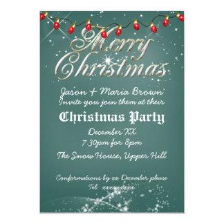 Fête de Noël verte vintage de rouge de tableau Cartons D'invitation