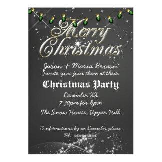 Fête de Noël vintage de vert de tableau Invitations Personnalisées