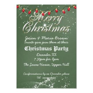 Fête de Noël vintage verte de rouge de tableau Carton D'invitation 12,7 Cm X 17,78 Cm