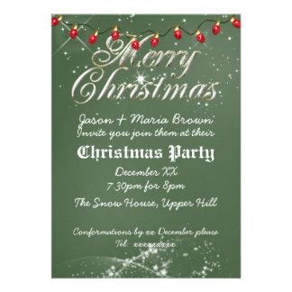 Fête de Noël vintage verte de rouge de tableau Invitation