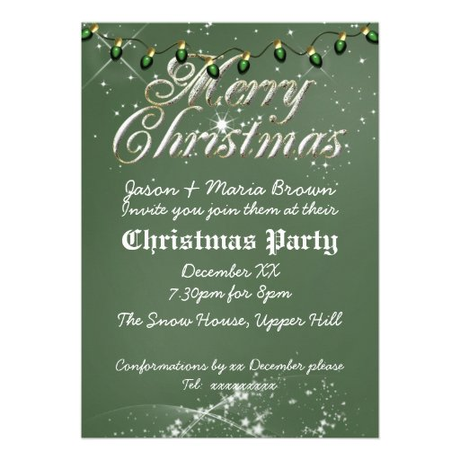 Fête de Noël vintage verte de vert de tableau Invitation