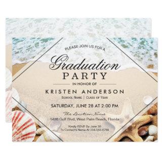 Fête de remise des diplômes de coquillage carton d'invitation  12,7 cm x 17,78 cm