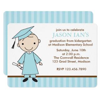 Fête de remise des diplômes d'école de garçon carton d'invitation  12,7 cm x 17,78 cm