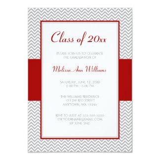 Fête de remise des diplômes rouge et grise de carton d'invitation  11,43 cm x 15,87 cm