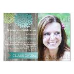 Fête de remise des diplômes turquoise en bois de carton d'invitation  12,7 cm x 17,78 cm