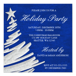 Fête de vacances de bleu royal et d'arbre de Noël Carton D'invitation 13,33 Cm