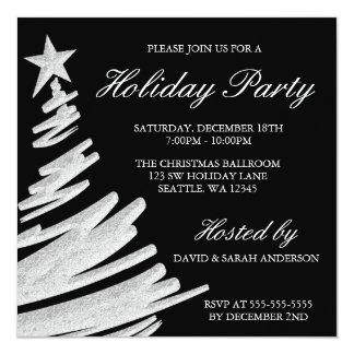 Fête de vacances noire et argentée d'arbre de Noël Carton D'invitation 13,33 Cm