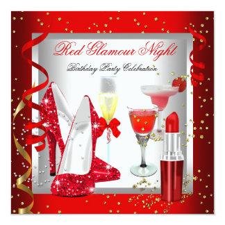 Fête de vacances rouge de boissons de cocktails de bristol personnalisé